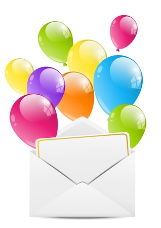 birth day: Birthday envelope with color balloon