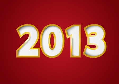 Red paper background with numbers 2013 Vector