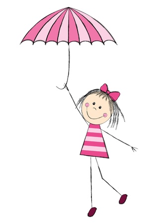 wet girl: Cute girl with pink umbrella