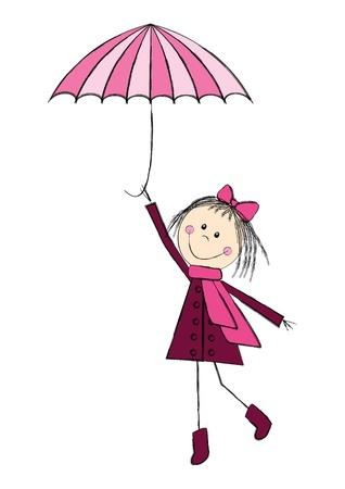 cartoon umbrella: Cute girl with pink umbrella