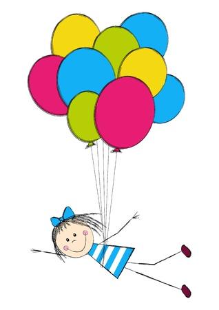 Cute girl with color balloon Stock Vector - 15639988