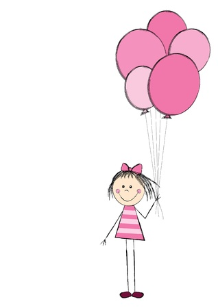 simple girl: Cute girl with pink balloon