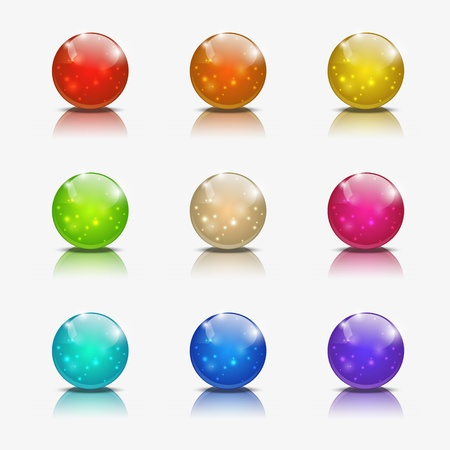 Set of glossy ball icons Stock Vector - 15640078