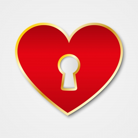 Paper red heart with keyhole Vector