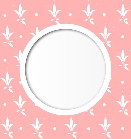 Pink cute background with round frame Vector