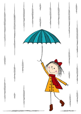 rain coat: Cute girl walking with umbrella