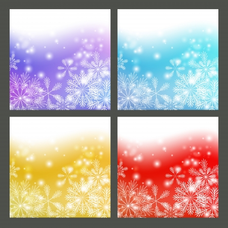 Set of color snowflake backgrounds Stock Vector - 15640074