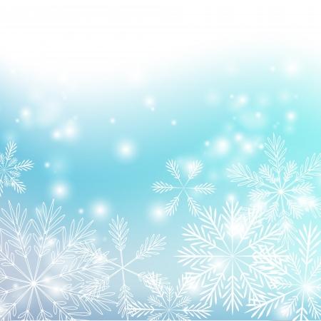 Flocons de neige avec des lumi�res brillantes de fond