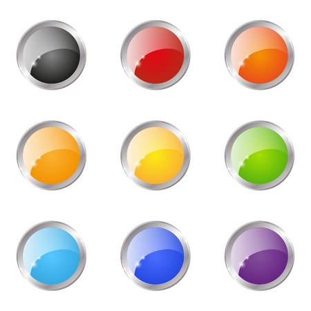Set of glossy round buttons Stock Vector - 15640103