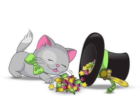 Cute cat eating candies from magic hat