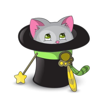 Cute cat inside magic hat Stock Vector - 15640113