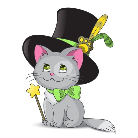 Magic cat in the hat Stock Vector - 15640117