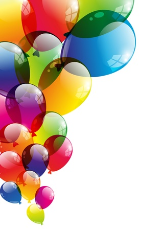 bright borders: Color background with glossy balloon Illustration
