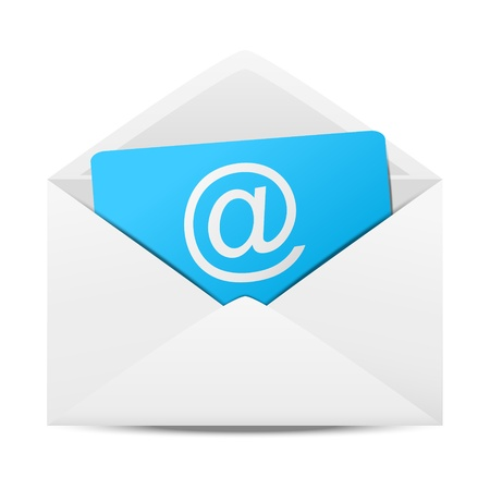 email contact: Envelope with paper sheet - concept of email