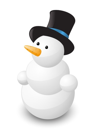 Glossy snowman on white background