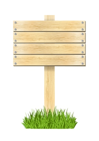 Wooden plate in green grass Vector