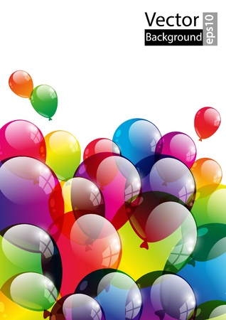 carnival border: Color background with glossy balloon Illustration