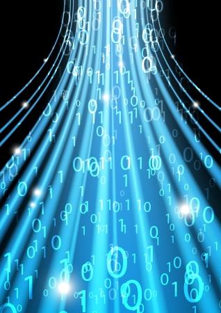 codigo binario: Fondo azul binario código - Concepto de información