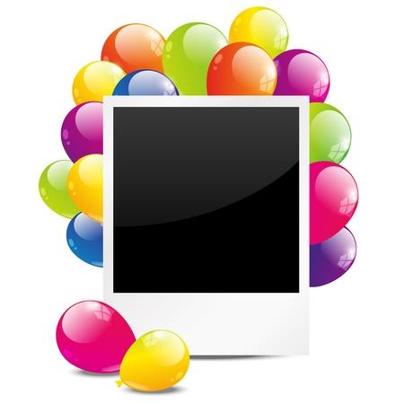 marco cumplea�os: Cumplea�os marco de fotos con globo de color Vectores