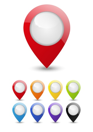 Set of round 3D map pointers Stock Vector - 16030612