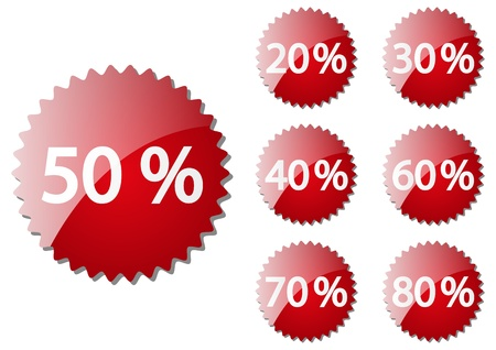 Set of red sale buttons Stock Vector - 16030600