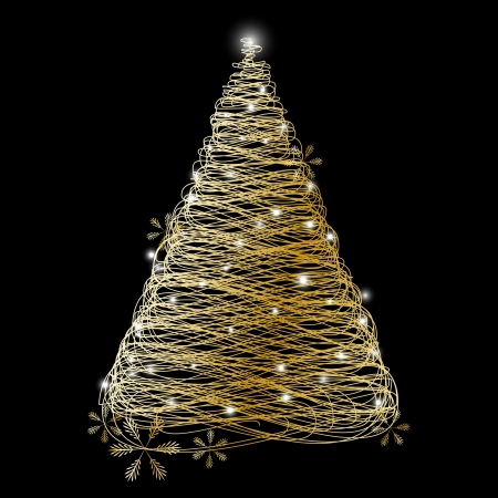 Golden Christmas tree with lights Stock Vector - 16030641