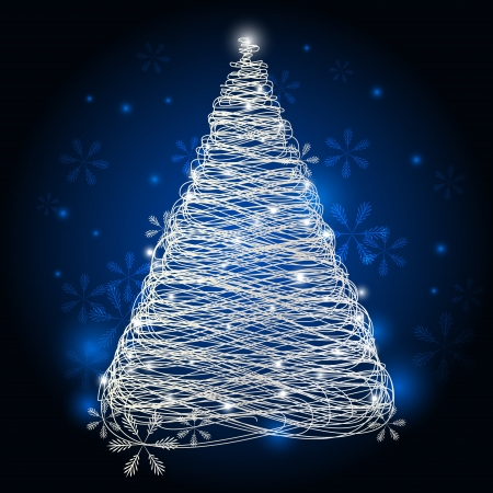 Silver Christmas tree with lights Stock Vector - 16030663