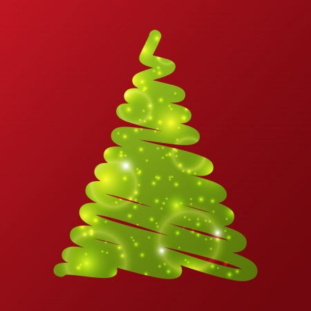 Green Christmas tree on red background Stock Vector - 16030599
