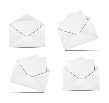 Set of open envelopes with paper Vector