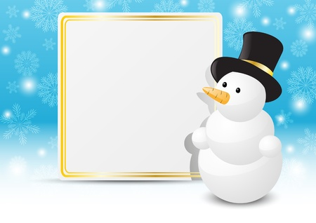 Merry Christmas snowman with banner Stock Vector - 16030725