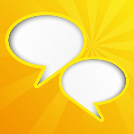 Two yellow paper speech bubbles Vector