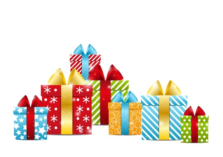 birthday presents: Color  gift boxes - concept of holiday