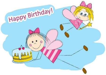 Birthday card with cute fairies Stock Vector - 16461644