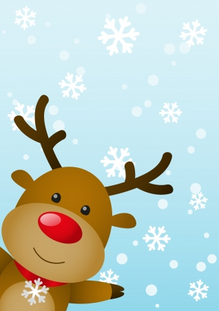 rudolph the red nose reindeer: Christmas card with cute deer Illustration