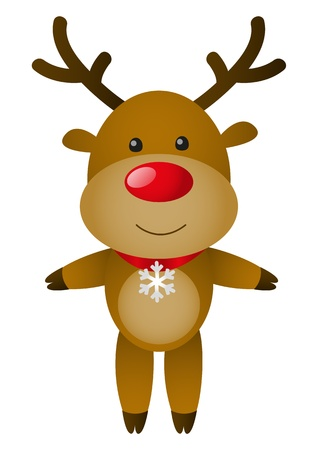 rudolph the red nose reindeer: Cute deer isolated on white Illustration