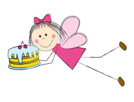 Cute little fairy with cake Stock Vector - 16461597