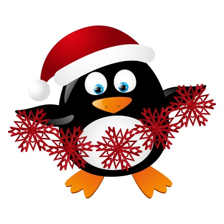 Cute Santa penguin isolated on white Stock Vector - 16461554