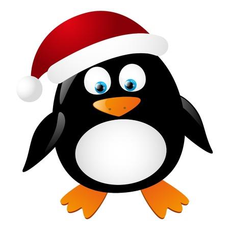 Santa lindo pingüino aislado en blanco