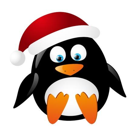 Cute Santa penguin isolated on white Stock Vector - 16461557