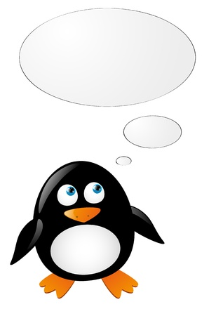 Cute penguin think about something Stock Vector - 16461373