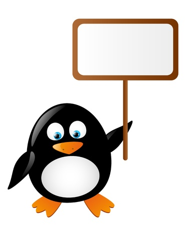 cartoon penguin: Cute penguin with banner for text