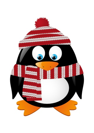 Cute winter penguin isolated on white Vector