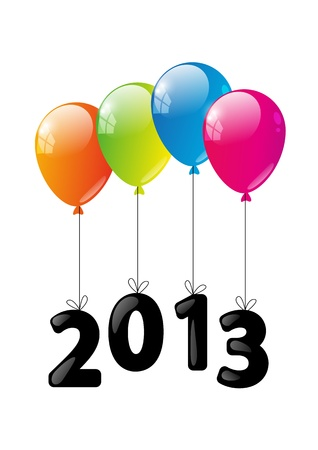 Color glossy balloon with numbers 2013 - New Year concept Vector