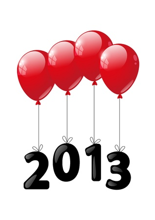 Red glossy balloon with numbers 2013 - New Year concept Vector
