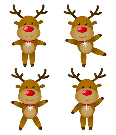 Set of cute Christmas deers Vector