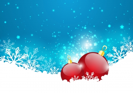 Christmas background with glossy balls Vector
