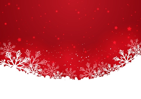 Christmas red background with snowflakes Stock Vector - 16613344