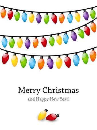 christmas garland: Christmas light bulbs background with place for text