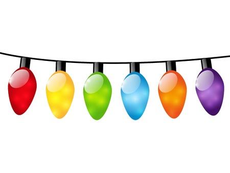 Ampoules de No�l de lumi�re de couleur sur fond blanc Illustration