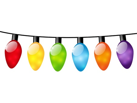 Christmas color light bulbs on white